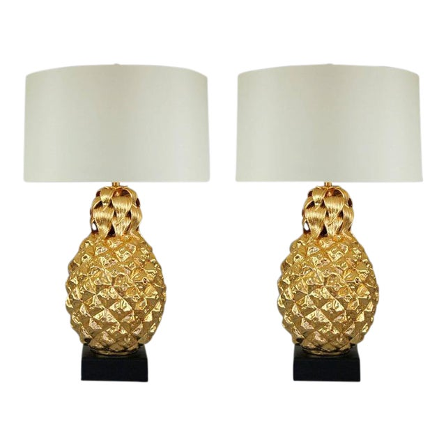 Marbro Italian Ceramic Pineapple Table Lamps Gold For Sale