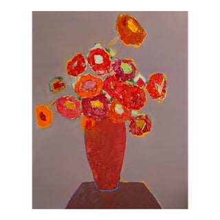 """Bill Tansey """" Rust Table"""" Abstract Floral Oil on Canvas For Sale"""