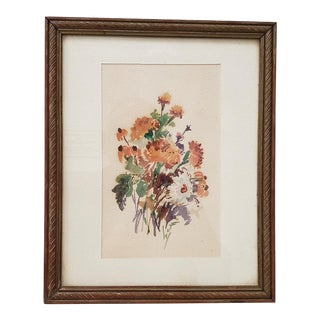 Vintage 1960s Watercolor of Fresh Picked Flowers by Jessie Walberg (New York, 20th C.) For Sale