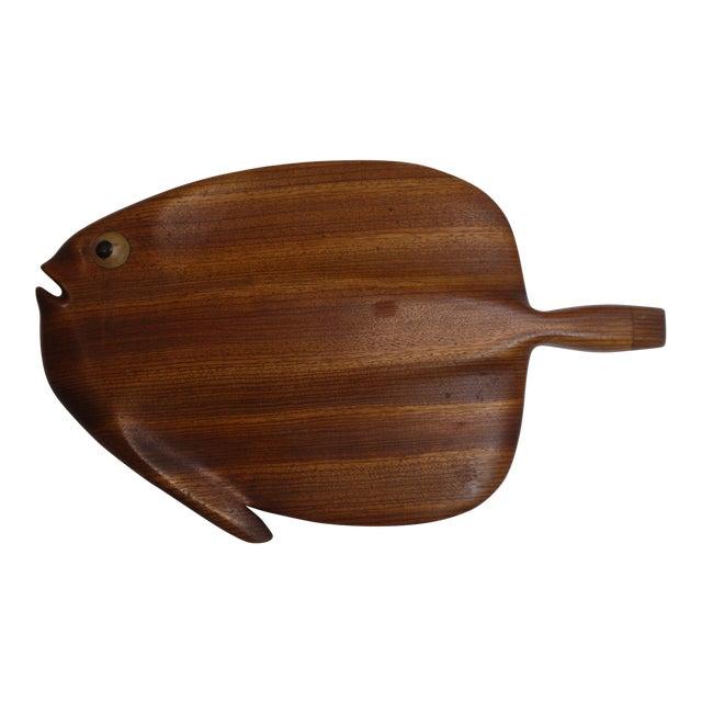Modernist Folk Art Hand Carved Teak Wood Fish - Image 1 of 6