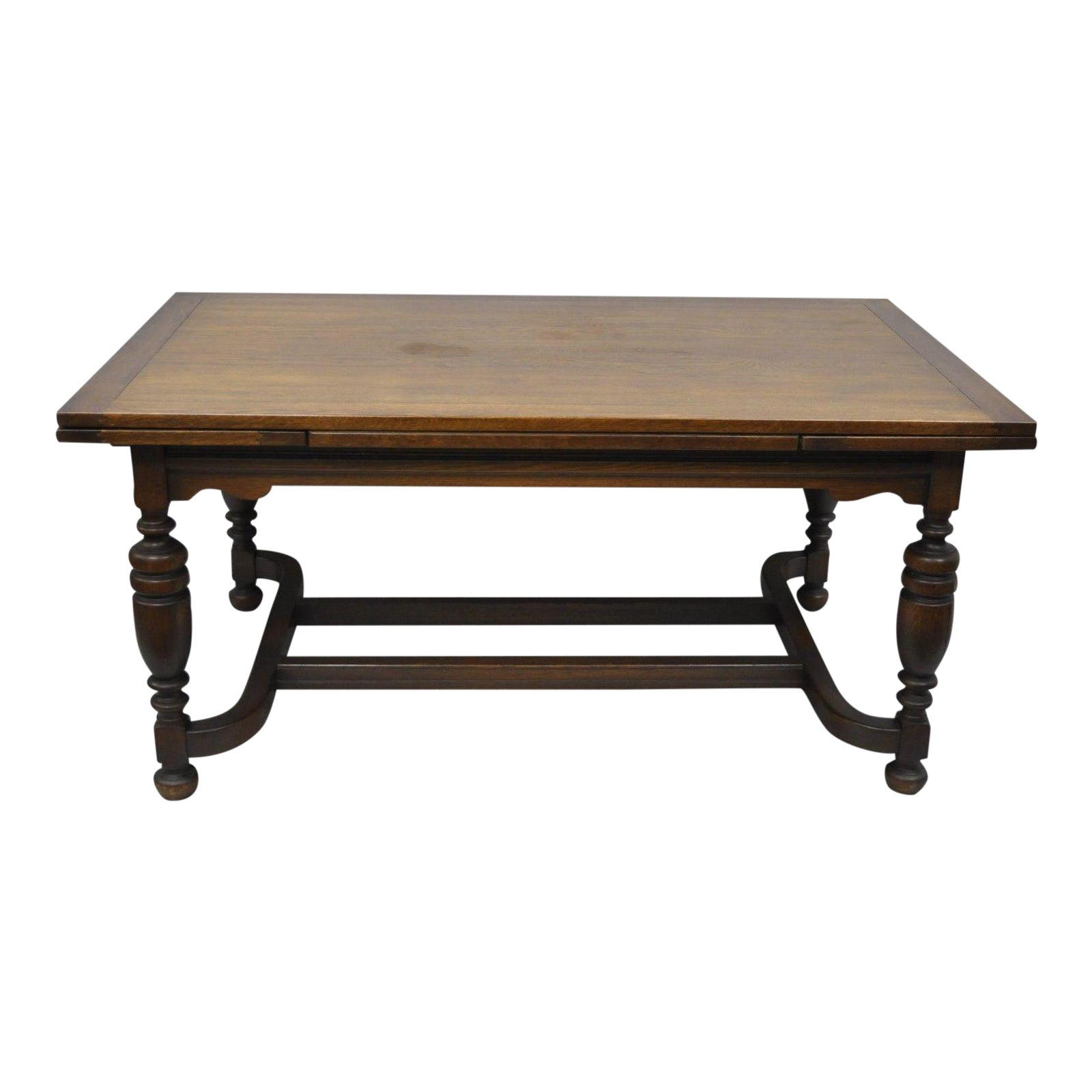 Antique Jacobean Style Oak Wood Extension Leaf Refectory Dining Room
