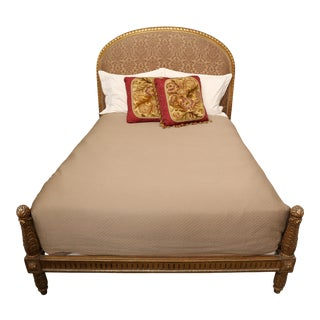 Gilt Bed with Silk Headboard- Louis XVI Style For Sale