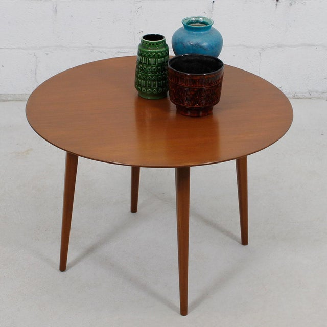 Round Mid Century Coffee Table with Splayed Legs in the Style of Hans Wegner - Image 4 of 4