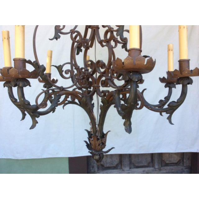 Antique Scrolling Iron Chandelier For Sale In San Antonio - Image 6 of 11