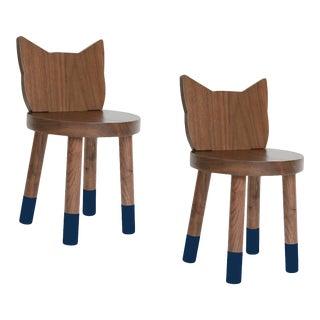 Nico & Yeye Kitty Kids Chair Solid Walnut and Walnut Veneers Deep Blue - Set of 2 For Sale
