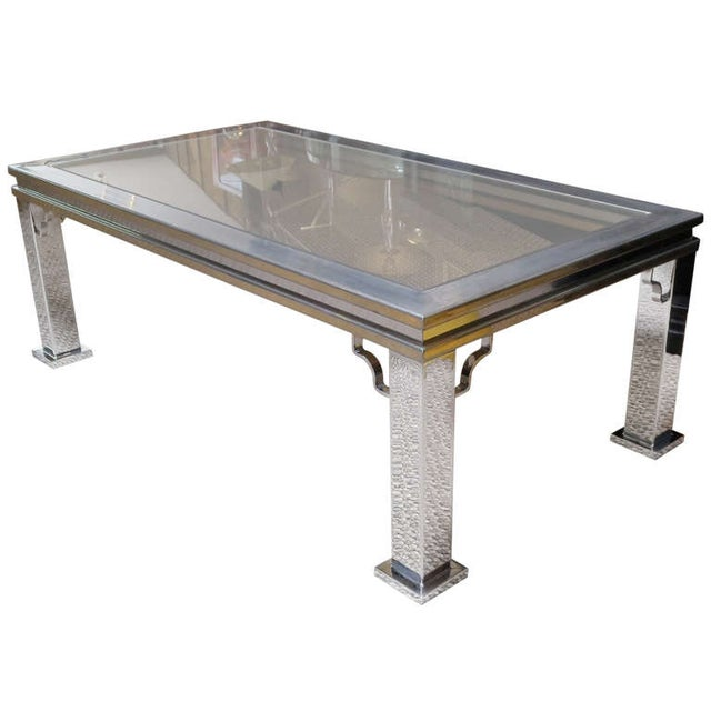 Maison Jansen Style Chrome and Glass Coffee Table - Image 1 of 5