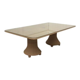Hularo Outdoor Synthetic Fiber W/ Glass Top Dining Table