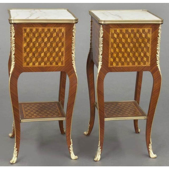 Metal Vintage French Louis XV Marquetry and Bronze Nightstands With Marble Top - a Pair For Sale - Image 7 of 8