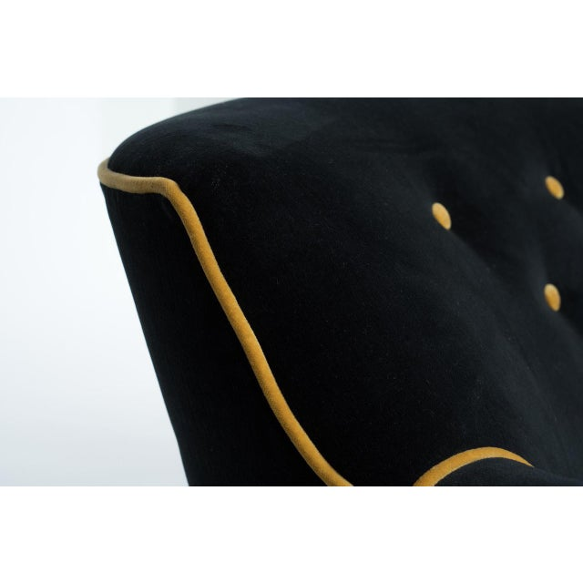 Black & Gold Velvet Sofa - Image 2 of 8