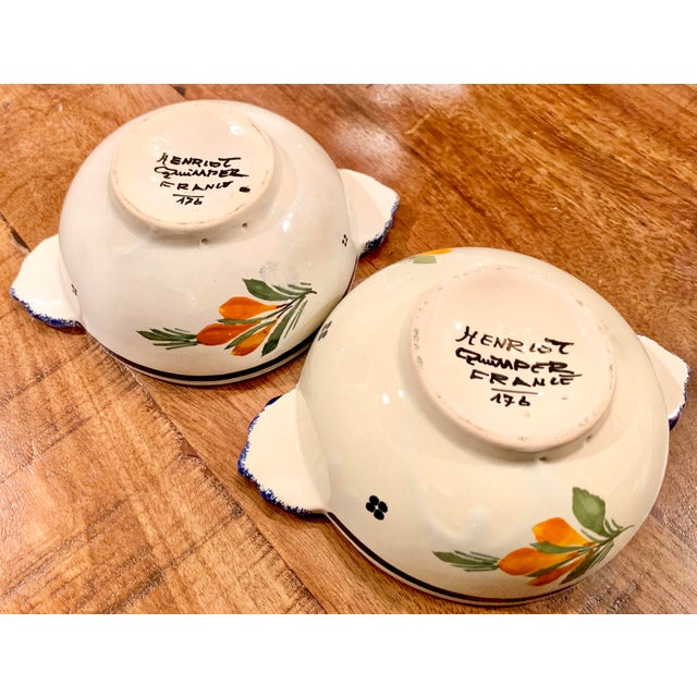 French HenRiot Quimper Signed Lug Bowls- a Pair For Sale - Image 11 of 12