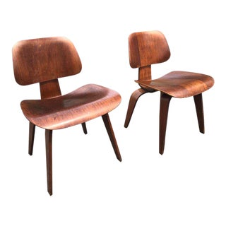 "Vintage Mid Century Charles and Ray Eames for Herman Miller Dcw ""Dining Chairs"" - a Pair For Sale"