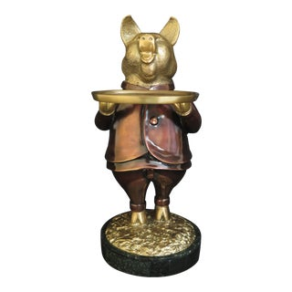 Maitland Smith 8164-12 Brass Pig W/ Tray on Wax Stone Marble Base For Sale