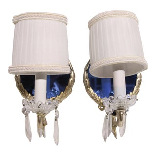 Shaded Crystal & Blue Mirrored Sconces - A Pair