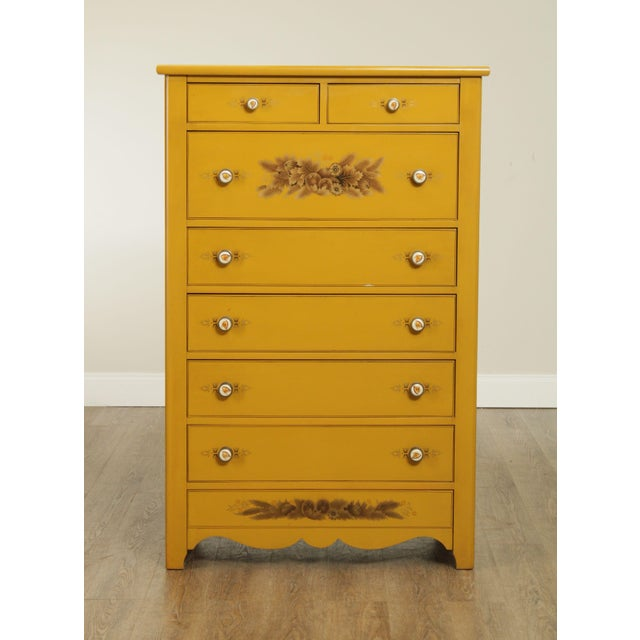 High Quality American Made Yellow Painted High Chest with Gold Stenciling and Dovetailed Drawers Store Item#: 25699