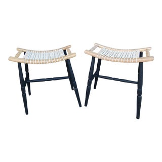 Mid-Century Modern Woven Seat Stools - a Pair For Sale