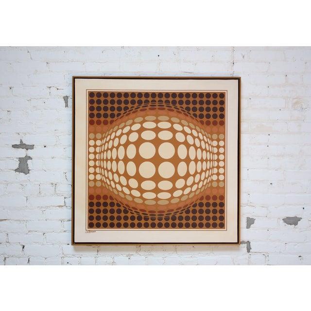 Blue Letterman Oil on Canvas Geometric Op Art For Sale - Image 8 of 8