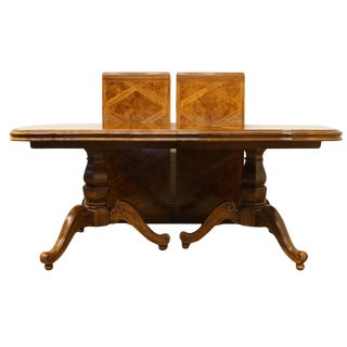 """20th Century Traditional Thomasville Furniture Place Vendome Collection Double Pedestal 112"""" Dining Table For Sale"""