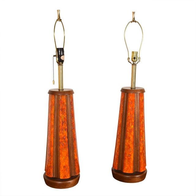 Mid-Century Walnut & Orange Enamel Lamp's, Pair For Sale - Image 10 of 10