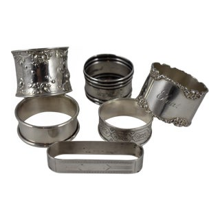 Antique Mixed Sterling Silver Napkin Rings - Set of 6