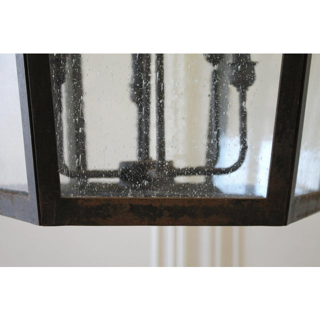Custom Made Iron Lantern Chandelier For Sale In Los Angeles - Image 6 of 12