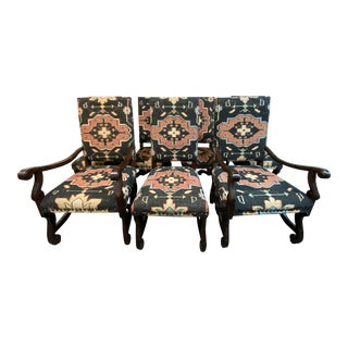 Orchard Creek Designs Custom Kilim Dining Chairs- Set of 7 For Sale