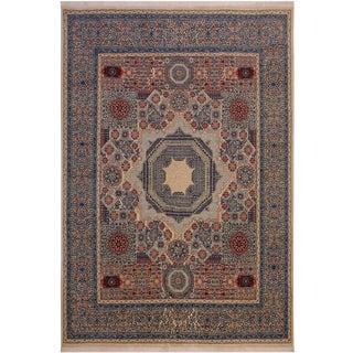 "Mamluk Romeo Ivory/Blue Wool Rug - 8'1"" X 9'8"" For Sale"