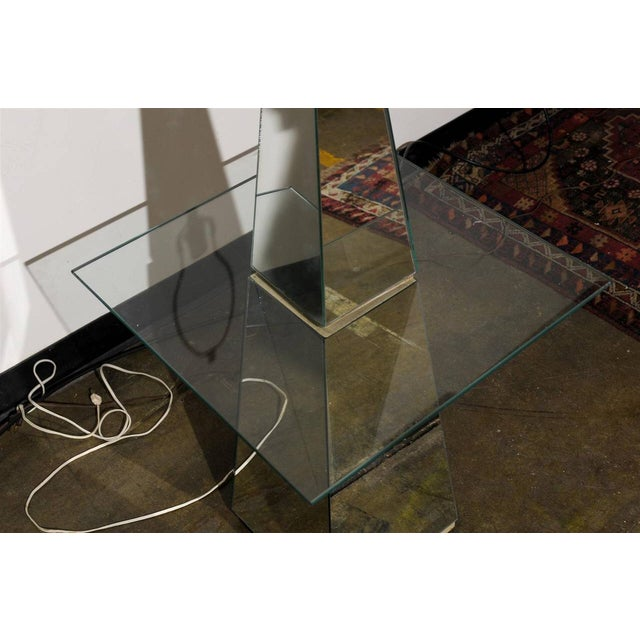 1960s Midcentury Modern Mirrored Floor Lamp With Glass Table For Sale - Image 5 of 6