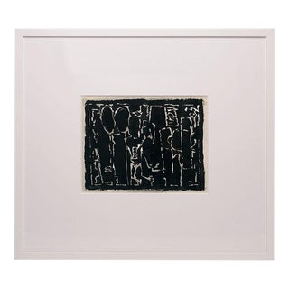 1966 Abstract Black and White Gouache Painting Signed Harry W. Peacock, Framed For Sale