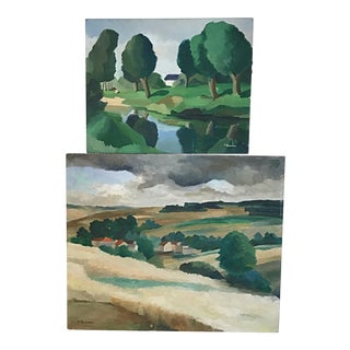 Vintage Contemporary Landscape Paintings on Board - Set of 2 For Sale