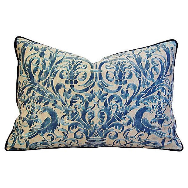Custom Designer Italian Fortuny Uccelli Feather/Down Pillow (One Pillow) - Image 4 of 10