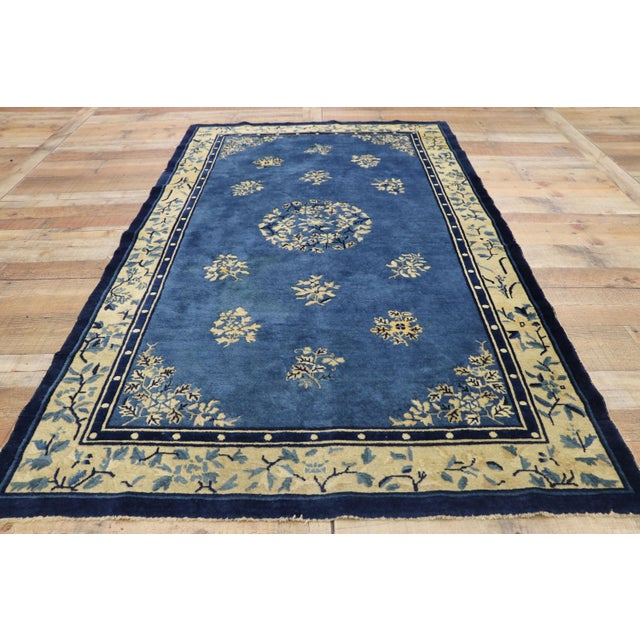Textile 1910s Antique Chinese Peking Rug- 4′1″ × 6′9″ For Sale - Image 7 of 10