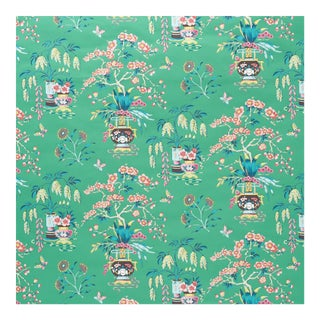 Sample - Schumacher Ming Vase Wallpaper in Jade For Sale