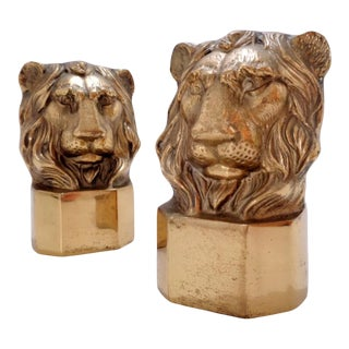 Vintage Solid Brass Lion Bookends ~ a Pair For Sale