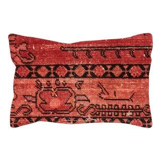 """1960s Overdyed Turkish Oushak Lumbar Pillow 16"""" X 24"""" For Sale"""