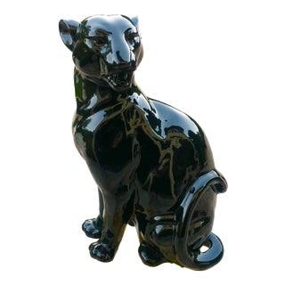 1980s Vintage Black Gloss Ceramic Panther Sculpture For Sale