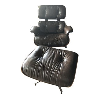 Eames Miller Brown Leather/Rosewood Lounge Chair & Ottoman
