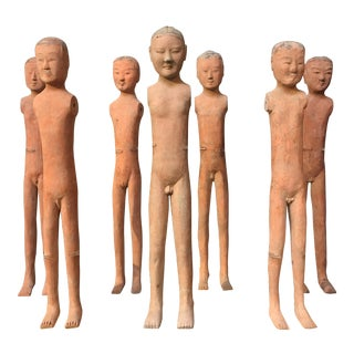 "Set of Seven Han Dynasty Painted Pottery ""Stick Men"" For Sale"