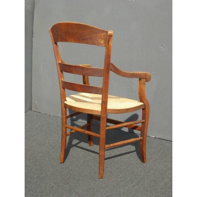 7f0d38a6ca29 Vintage French Country Rush Seat Mahogany Dining Chairs - Set of 4 W Rush  Seats Farmhouse