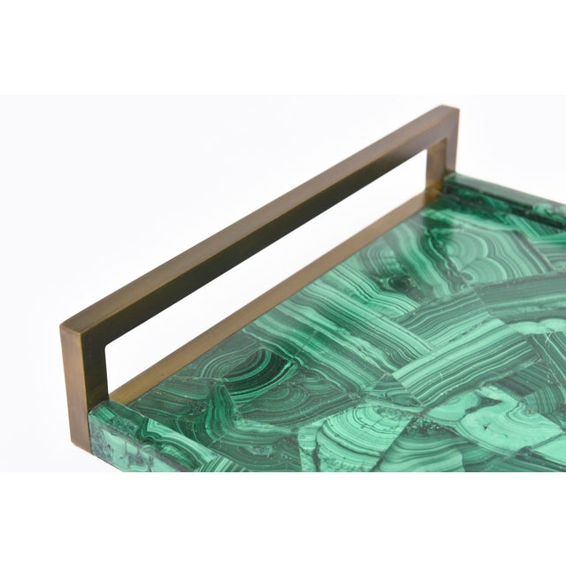 R&Y Augousti Faux Malachite Compostion Wood and Brass Tray For Sale In Miami - Image 6 of 10