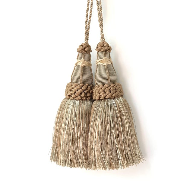 2010s Key Tassels in Khaki and Bronze With Ruche Trim - a Pair For Sale - Image 5 of 12