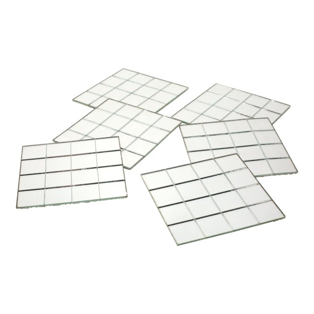 Vintage Mirror Mat Beverage Coasters - Set of 6 - 4 Available For Sale