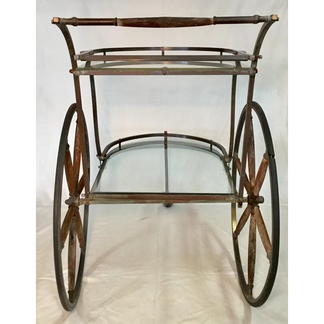 1950s Bronze and Glass Bar Cart With Wooden Spoked Wheels For Sale In Los Angeles - Image 6 of 13