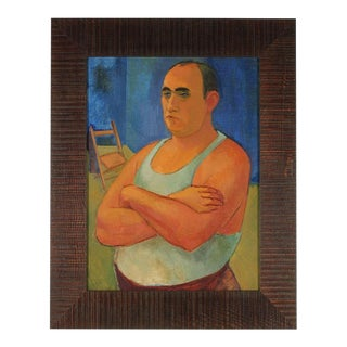 Modernist Portrait of Man Oil Painting on Canvas, 1940s For Sale