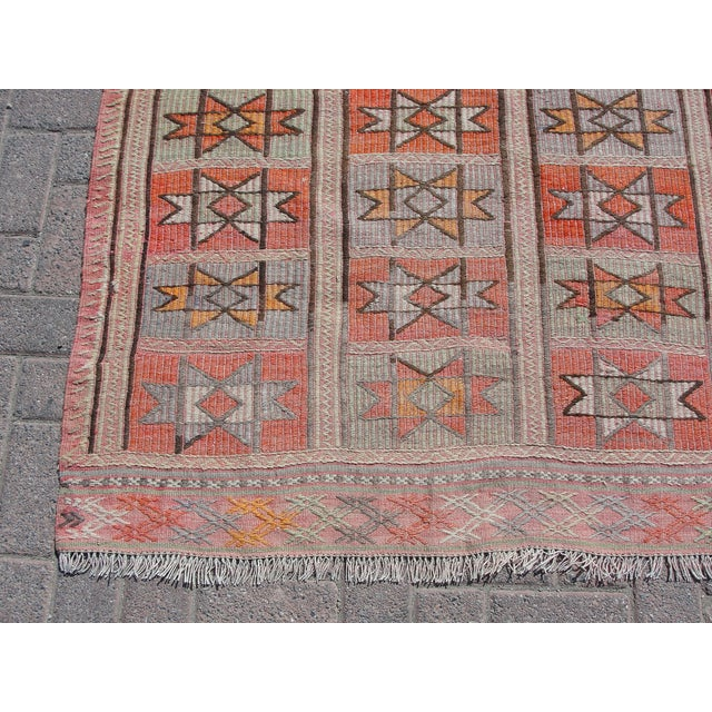 "Vintage Turkish Kilim Rug - 4'9"" x 5'1"" For Sale - Image 9 of 11"