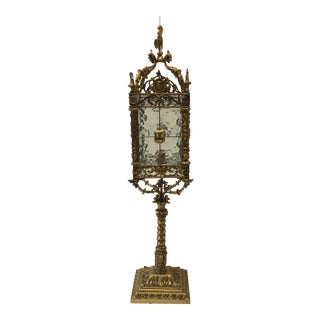 Ornate Metal and Glass Lamp With Mid Evil Style Elements For Sale