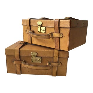 Pair of Small Leather Suitcases For Sale