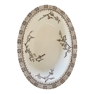 Late 19th C. English Brown & White Transferware Bowl For Sale