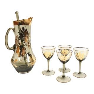 Vintage Gold Floral Smoke Glass Drink Set For Sale