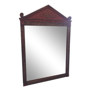 Chinese Neoclassical Style Red Mirror With Pagoda Style Pediment For Sale
