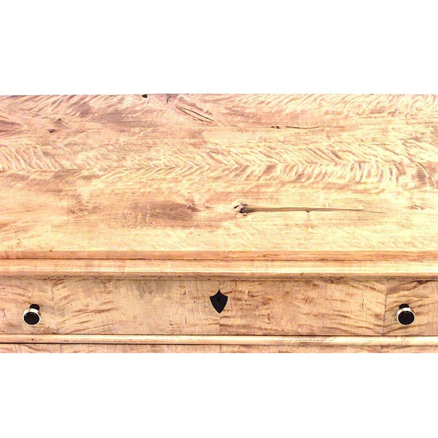 Swedish Biedermeier maple chest of four drawers with black trim on legs and inlaid medallion on drawers (19th century).